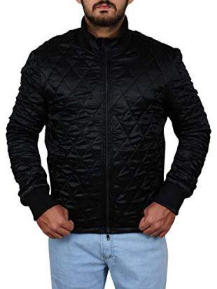 TrendHoop Men's Full Quilted Zip Moto Slim Fit Black Satin Jacket (Moto Black, XXX-Large)