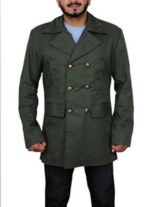 TrendHoop Men's Trench Coat Double Breasted Overcoat Pea Coat Classic Cotton Blend Slim Fit (Military Green, X-Large)