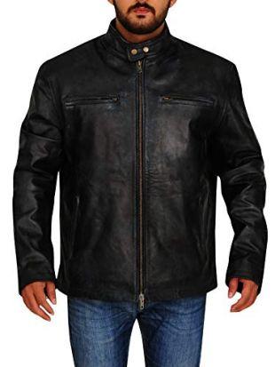 TrendHoop Men's Antique Vintage Distressed Black Retro Motor Biker Real Leather Jacket (Retro Black, X-Large)