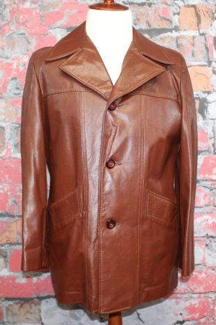 Vintage Cresco Chocolate Brown Leather Men's Coat Jacket Removable Liner