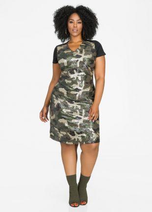 Sequin Front Camo Sheath Dress