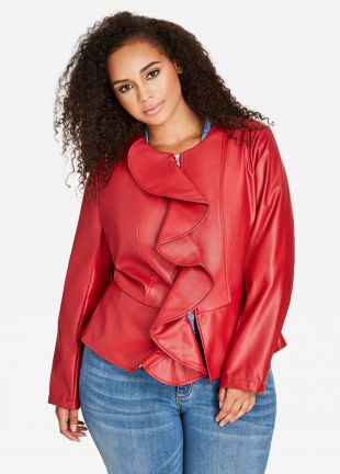 Ruffle Front Faux Leather Jacket