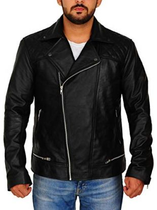 TrendHoop Mens Black Biker Quilted Lambskin Leather Moto Jacket (Quilted Black, X-Small)