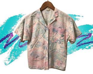 Chemise à manches courtes rose vert abstrait coton imprimé Floral Vaporwave Pastel vintage des années 80 par la petite taille de palmettes