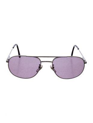 Timeless Silver Metal Aviator Sunglasses w/ Dark Purple Lenses