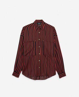 Chemise oversize à rayures et poches plaquées