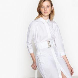 Robe chemise avec ceinture élastiquée