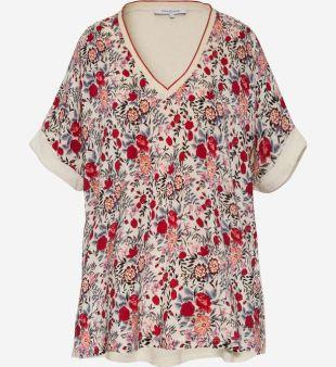 T shirt col V imprimé floral