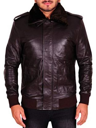 TrendHoop Mens A-2 Style Distressed Bomber Flight Brown Real Leather Jacket - with Black Fur (A-2 Brown, X-Small)