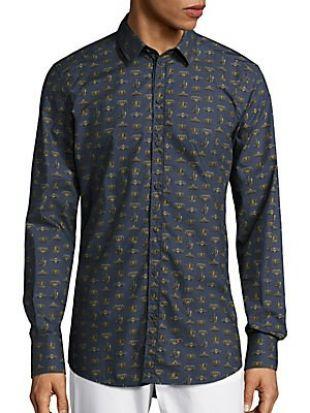 Crown Print Cotton Sportshirt