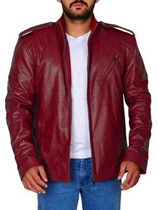 TrendHoop Mens Casual Red Biker Slim Fit Racing Lamb Nappa Leather Jacket (Red Slim Fit, Medium)