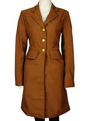 TrendHoop Classical Custom Ladies Fashion Brown Cotton Clothes Long Women Trench Coat   Small Size (Small)
