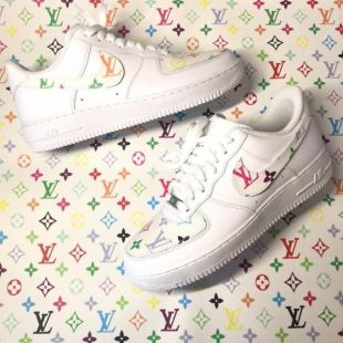 Nike Air Force 1 custom with genuine Louis Vuitton material
