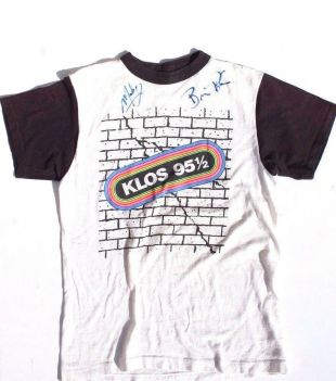 1980's Autographed Mark & Brian Mornings Show Klos 95.5 Radio Band T Shirt