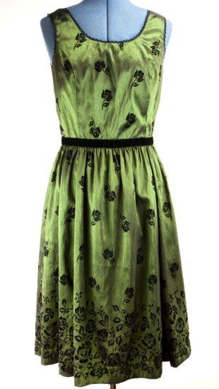 Twilight New Moon Official Bella Swan Green Taffeta Dress Sz L Black Velvet