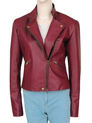 TrendHoop Women Fashion Stylish Zipper Maroon Leather Brando Biker Jacket (Biker Maroon, X-Small)