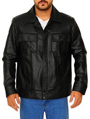TrendHoop Men's Black Biker Vintage Flapped Style Genuine Lambskin Leather Jacket - 1501210 (Vintage Black, Large)