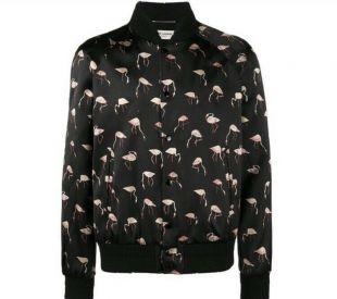 EUC Saint Laurent Flamingo Bomber Jacket Black Pink Silk Feel YSL