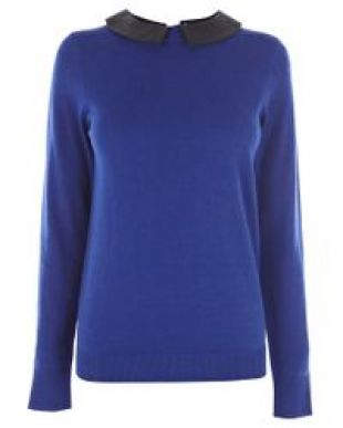 Faux Leather Collar Jumper