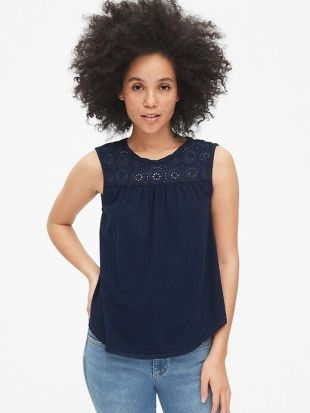 Gap Embroidered Eyelet Insert Top