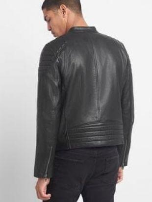 Leather biker jacket   Gap UK