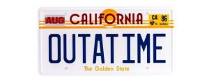 Back To The Future OUTATIME License Plate Replica DeLorean Metal Stamped Vanity Movie Film Prop License Plate