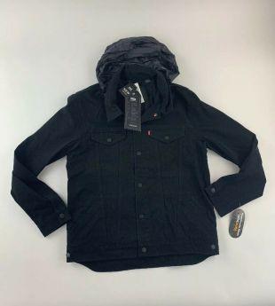 Levi's Mens Commuter Black Denim Trucker Snap Up Hooded Jacket