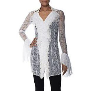 Versace 1990s White Lace Ruffle Dress