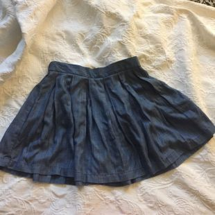American Eagle Outfitters Chambray Jean Pleated Circle Skirt Small Casual Skater