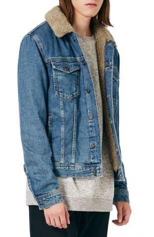 Topman - Denim Jacket with Faux Shearling Collar