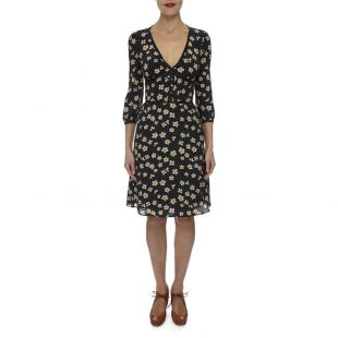 Ada London Black Floral Silk Tea Dress - The Katie