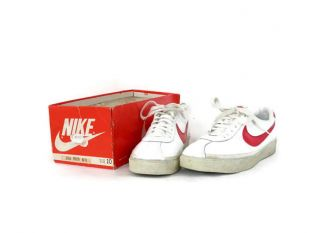 OG 80s Nike Bruin White Leather and Red Swoosh Sneakers Mens sz 10 Marty McFly Back to the Future