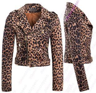 Womens Faux Suede Leopard Biker Jacket Ladies