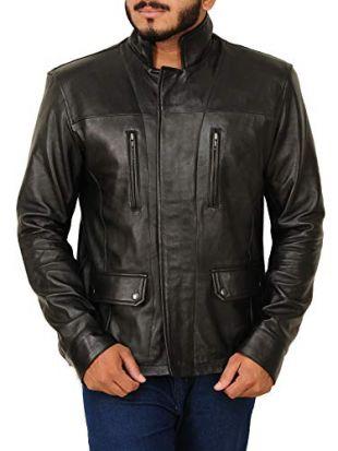 TrendHoop Premier Fashion Men's Hand Waxed Motorcycle Lambkin Leather Jacket (Waxed Black, Medium)