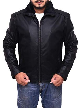 Trend Hoop Men's Genuine Leather Jacket Black Motorcycle Bomber Faux Shearling Stand Collar (Large)