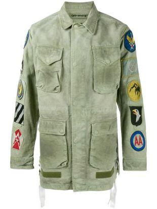 veste kaki à patchs