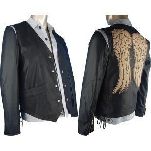 walking dead ange faux cuir hls hommes vest