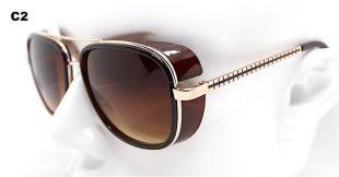 Occhiali da sole uomo pilota aviatore quadrato oro nero marrone, Aviator lunettes de soleil carré hommes or noir marron pilote Steampunk