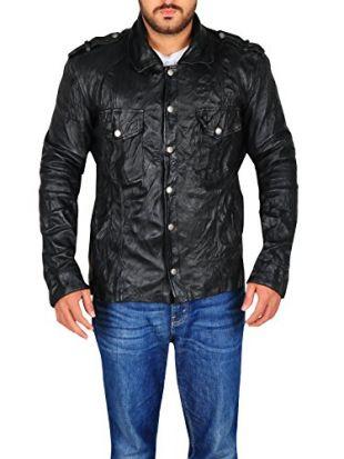 TrendHoop Amazing Wrinkle Leather Long Sleeve Smooth Lambskin Jacket (Wrinkle Black, Small)