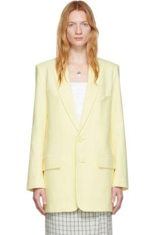 Tibi Yellow Long Removable Tie Blazer