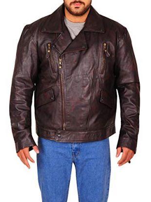 TrendHoop Mens Brown Distressed Leather Marlon Brando Biker Motorcycle Armoured Jacket (Distressed Brown, Medium)