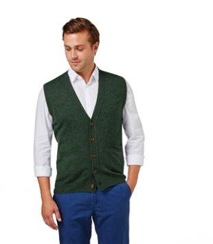 Mens Lambswool Waistcoat Tweed Green