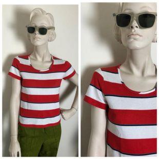 des années 1970 des tee rayé bleu et rouge / / classic mod français nouvelle vague tee shirt //Bold horizontal rayé tee