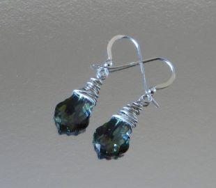 Beads Me Green Teardrop Swarovski Crystal Earrings