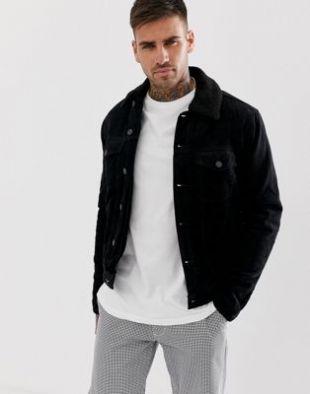 New Look Veste en velours côtelé noir