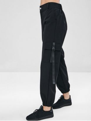 best selling latest collection soft and light Black cargo pants with black straps attached to the legs ...