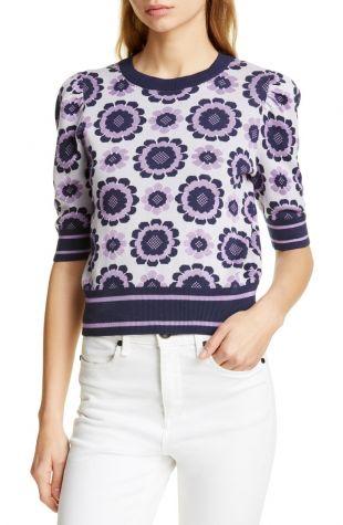 Kate Spade New York geo floral crop sweater