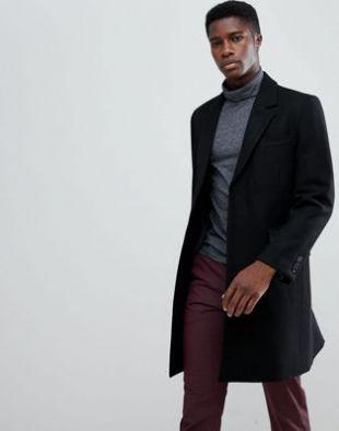 Asos Pardessus en laine mélangée noir