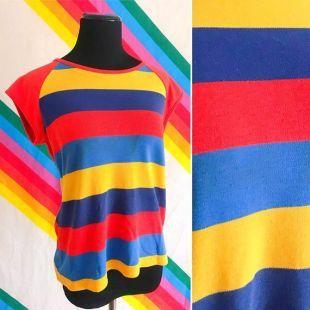 70 s vintage rayé Raglan Ringer Tee   Top Raglan Groovy Vintage des années 70   Vintage des années 70 tee shirt rayé