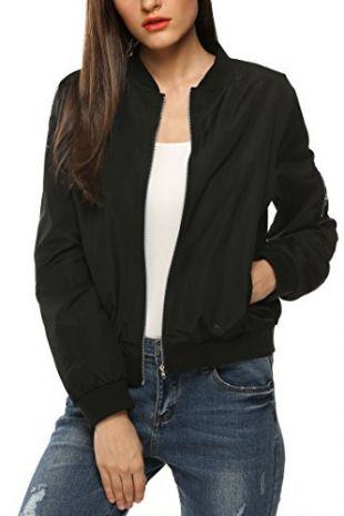 Zeagoo Womens Classic Quilted Jacket Short Bomber Jacket Coat, Black, X-Large